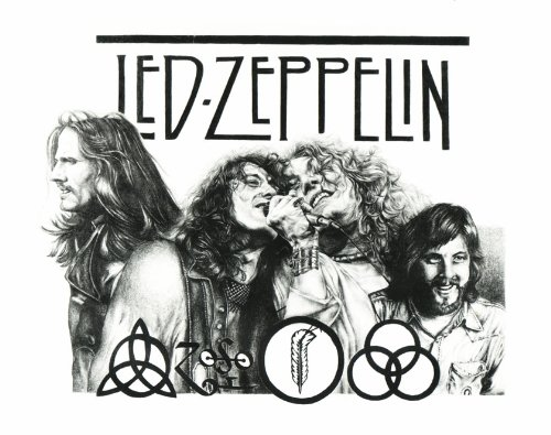 22.5X17.5 Sketch Poster Print Led Zeppelin Drawing Music Concert