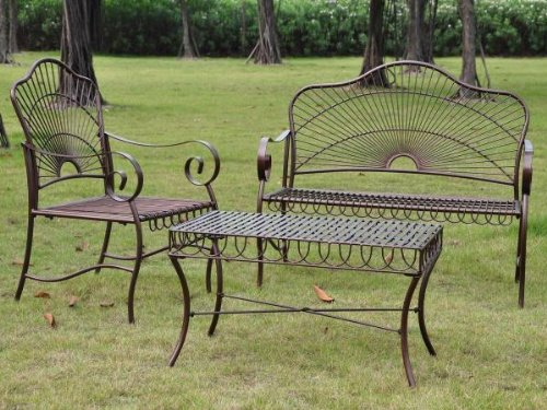 Patio Sets Clearance Sun Ray 3 Piece Iron Loveseat Set