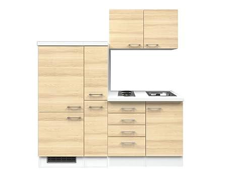 Singlekuche Akazie Weiß 190 cm mit Auszugsschrank und Kuhlschrank - Arezzo