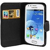 Custodia cover PORTAFOGLIO pelle per Samsung Galaxy Trend s7560 Plus s7580 + 2 pellicole - NERO