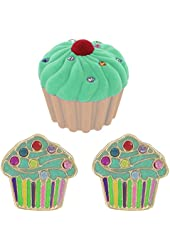 Cupcake Pierced Earrings w/ Crystal Sprinkles in Cupcake Velour Gift Box