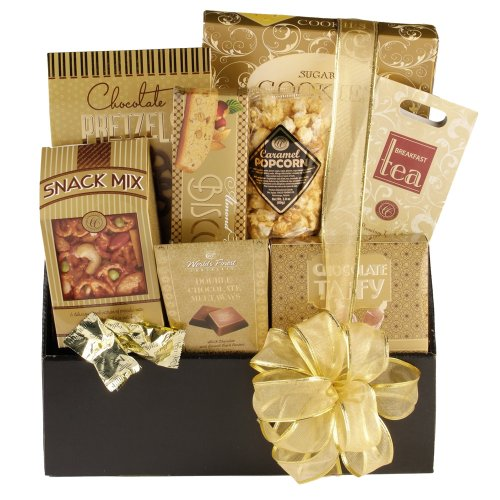 Golden Elegance Black Gift Box contains Breakfast Tea, World's Finest Double Chocolates, Belgian Truffles and more