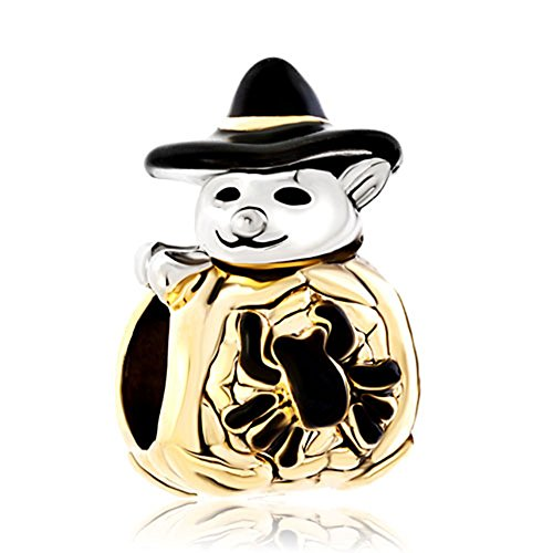 Snowman Charm Wizard Halloween Cute Spider Snowman Wearing Black Gentleman Hat Charms Beads Fit Pandora Bracelets
