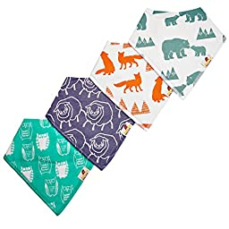 Adovely Baby Bandana Bib Set, 4-Pack Super Absorbent Drool Bandana Bibs (Cuddles)
