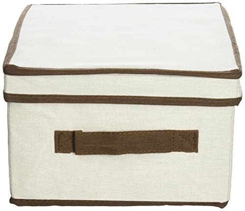 Household Essentials Medium Storage Box, Natural Canvas with Brown Trim