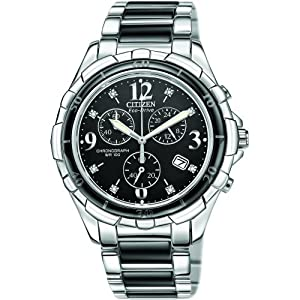 Citizen Ladies Chronograph Steel and Ceramic Bracelet Eco-Drive FB1241-53E