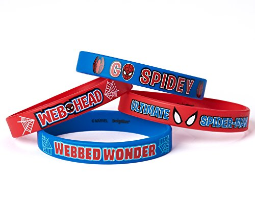 Spider-Man Rubber Bracelets, 4 Count, Party Supplies