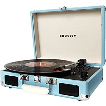 Crosley CR8005A-TU Cruiser Portable 3-Speed Turntable, Turquoise