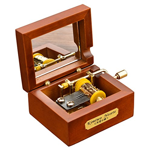 Laxury Mini Size Creative Wooden 18-note Hand-crankMusical Box,Musicl Toys,Tune:Over the Rainbow