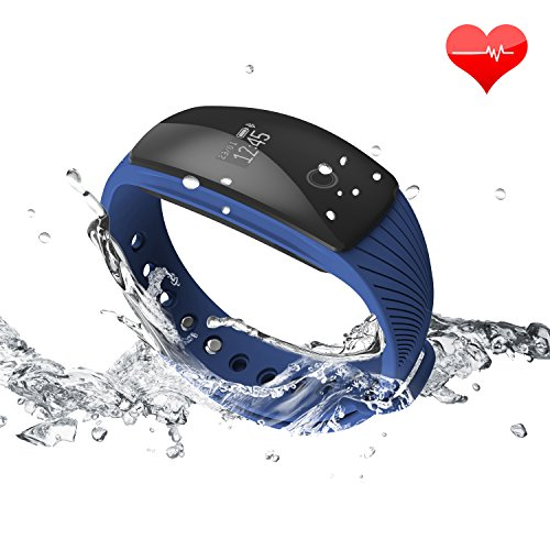 RIVERSONG Fitness Tracker Updated Version Waterproof Heart Rate Tracking Smart Bracelet Pedometer Activity Monitors Sleep Calorie Tracking Wristband Great Present (Blue)