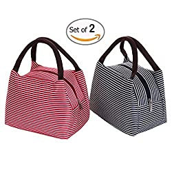 Dimayar Dark Blue&Red 2pcs 9'x6.5'x5.8' Lunch Bag Insulated Lunch Bag Reusable Bags Lunch Bento Lunch Box Lunch Boxes Lunch Bag Insulated Lunch Bags for Women Lunch Boxes for Teens