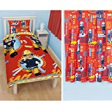 Fireman Sam 'Alarm' Single Reversible Duvet Cover + Matching 66