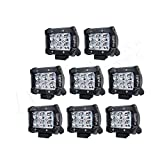 LITE-WAY 8 Pcs 4'' inch 18W LED Light Bar Spot Beam Off road Lights 4wd LED Work Lamp 12V 1800LM for Truck Pickup Jeep Suv Atv Utv Daytime Running Lights Bar Waterproof