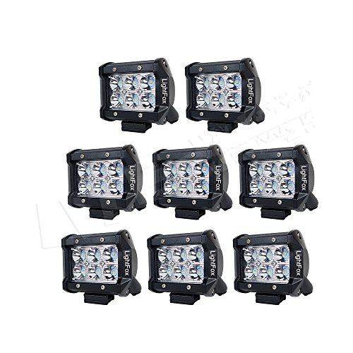 LITE-WAY 8 Pcs 4'' inch 18W LED Light Bar Spot Beam Off road Lights 4wd LED Work Lamp 12V 1800LM for Truck Pickup Jeep Suv Atv Utv Daytime Running Lights Bar Waterproof (Off Road Lights Packages compare prices)