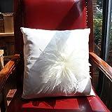 TOTO-45 * 45cm (18po) fleurs en plumes cuir PU simulation de papier européen oreiller de luxe canapé-lit oreiller coussin de dossier taie carré coussin...