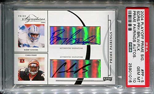 2004 Prime Pairings Quad Auto BARRY SANDERS MARSHALL FAULK Jersey #28 /31 10 - PSA/DNA Certified - Autographed NFL Jerseys (Barry Sanders Auto compare prices)