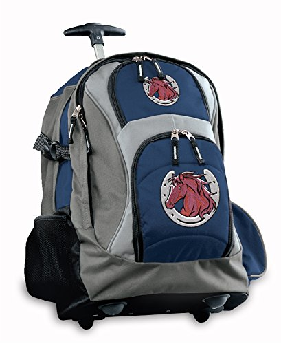 Horse Theme Rolling Backpack Deluxe Navy Horse Design Backpacks Bags With Wheel