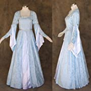 Artemisia Designs Medieval Renaissance Gown Light Blue Velvet White Satin Small