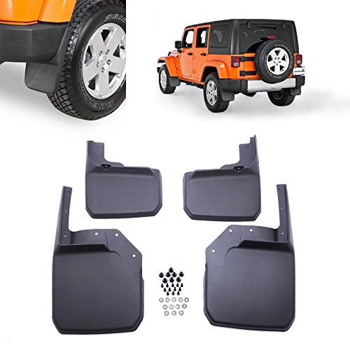 Micropower Front Rear Mud Flaps Molded Splash Guards Black Composite for 2007-2015 Jeep Wrangler(4pcs) (Mud Flap Jeep Wrangler compare prices)
