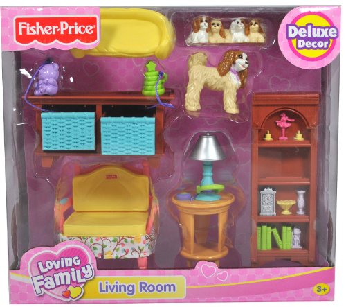 Fisher Price Year 2006 Loving Family Dollhouse Deluxe Decor Furniture  Accessory Set   LIVING ROOM  K5318  with Sofa Chair  Toy Storage with 2  Drawers. Dollhouse Furniture Discount  Fisher Price Year 2006 Loving Family