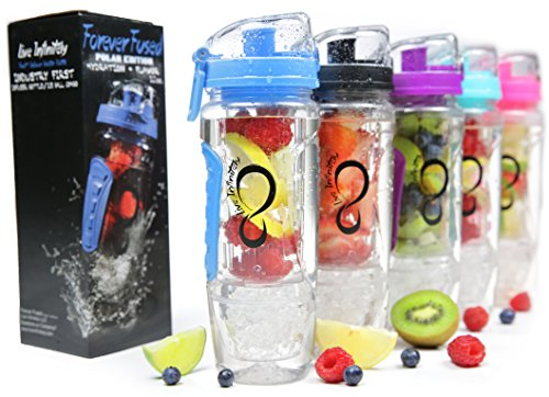 Live Infinitely 32 oz. Infuser Water Bottles - Featuring First Ever Gel Freezer Ball Infusion Rod, Flip Top Lid, Larger Dual Hand Grips & Recipe Ebook Gift (Blue) (Glass Freezer Cup compare prices)