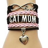 Infinity Love Cat Mom Bracelet- Heart Charm Leather Braided Animal Puppy Bracelet