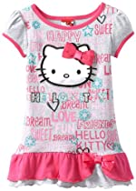 Hello Kitty Girls 2-6X Short Puff Sleeve Top with Bottom Ruffles, Heather Grey, 2T