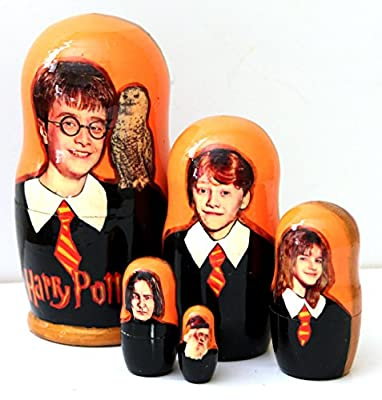 New Set of 5 pcs Harry Potter Nesting Dolls Authentic Russian Wooden Matryoshka Birthday Gifts Home Decoration