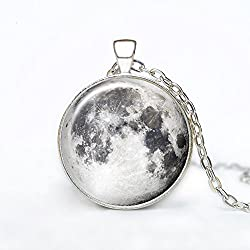 Full Moon Galaxy Hand Craft Casestars Space Moon Nebula Stainless Steel Necklace