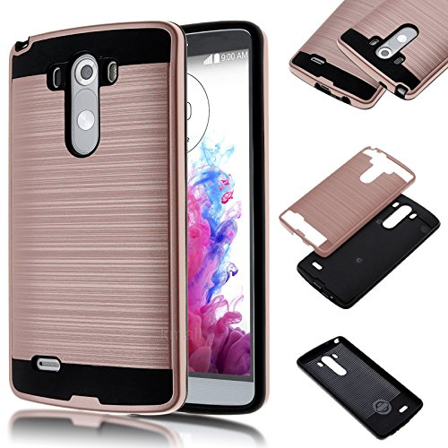 LG G3 D855 D851 Case,Kmall [Brushed Metal Texture] Heavy Duty Shockproof High Impact Resistant Durable Full Body [Maximum Drop Protection][Slim Fit] Hybrid Case Skin Cover Shell for LG G3[Rose Gold] (Lg 3 Accesories compare prices)