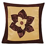 BIG LILY FLOWER PATCH CUSHION COVER BROWN & BEIGE 1 PC (40 X 40 CMS)