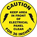 """Accuform Signs MFS778 Slip-Gard Adhesive Vinyl Round Floor Sign, Legend """"CAUTION KEEP AREA IN FRONT OF ELECTRICAL PANEL CLEAR FOR 36 INCHES"""", 17"""" Diameter, Black on Yellow"""