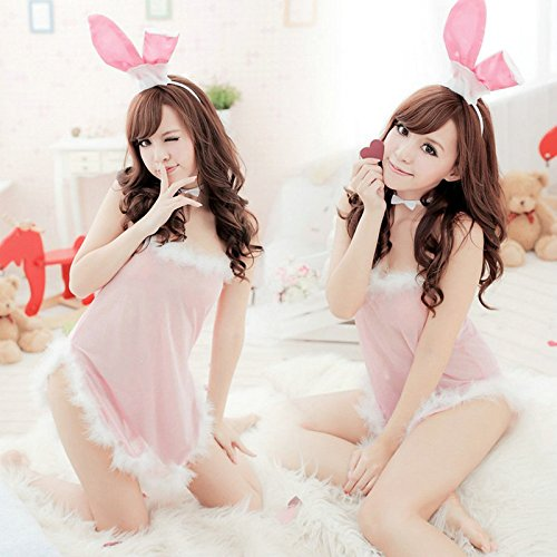 Ocely Pink Transparent Sexy Lingerie Babydoll Teddies Rabbit Bunny Women Costume Cosplay Set One (Sexy Bunny Makeup)