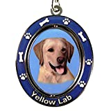 "Yellow Lab Key Chain ""Spinning Pet Key Chains""Double Sided Spinning Center With Yellow Labs Face Made Of Heavy Quality Metal Unique Stylish Yellow Lab Gifts"