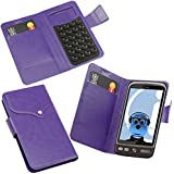 iTALKonline HTC Desire Purple Super Slim PU Leather Executive Multi-Function Wallet Case Cover Organiser Flip with Credit / Business Card Holder - Suction Pad Design