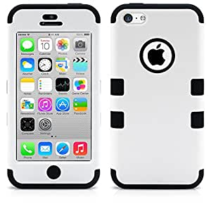 iPhone 5C Case, MagicMobile Hybrid Impact Shockproof Cover Hard Armor Shell and Soft Silicone Skin Layer [ White - Black ] with Free Screen Protector / Film and Pen Stylus