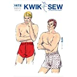 Kwik Sew K1672 Boxer Shorts Sewing Pattern, Size S-M-L-XL