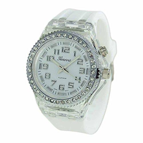 Geneva Platinum Silicone Rubber Cz Light Up Watch White