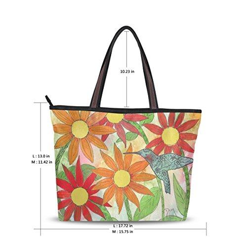 Women Large Tote Top Handle Shoulder Bags Sunflower Hummer Ladies Handbag M (Hummer Umbrella compare prices)