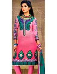 Exotic India Morning Glory-Pink Choodidaar Kameez Suit With - Morning Glory-Pink