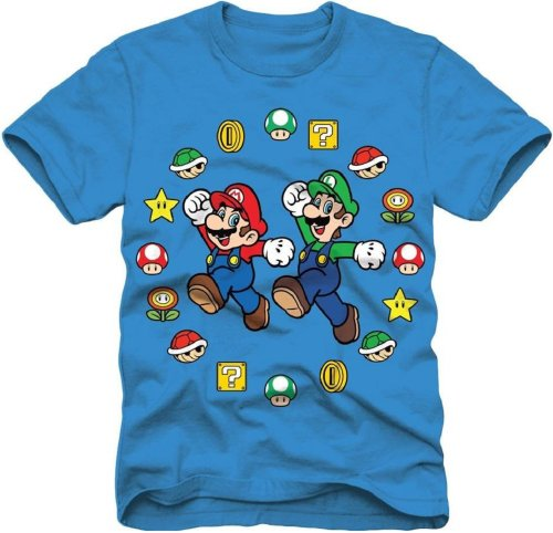 Super Mario Bros Mario and Luigi Pose Boys Youth Blue T-shirt (Youth 18, Blue)