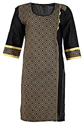 Fashion Web Women's Cotton Regular Fit Kurta (Black, X-Large)