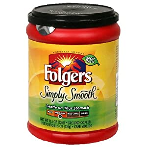 Folgers Simply Smooth Ground Coffee, 11.5-Ounce Tubs (Pack of 6)