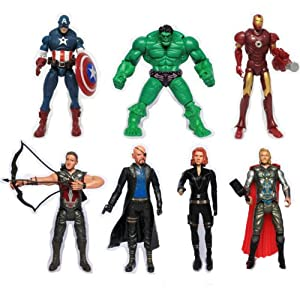 Marvel Avengers Figurines Captain America Hulk Ironman Black Widow Set