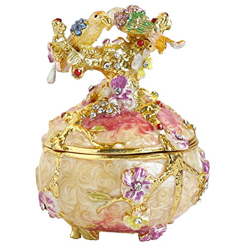 Rare Hand Printed Vintage Style Love Bird Colorful Rhinestone Jewerly Trinket Box / Faberge Egg