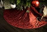 "Classic Red Christmas Tree Skirt - Embroidered Taffeta - 52"" Diameter"