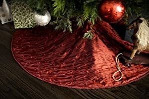 #!Cheap Classic Red Christmas Tree Skirt - Embroidered Taffeta