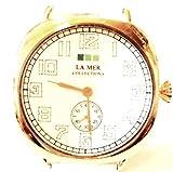 LA MER COLLECTIONS ( ラメールコレクション )  【 ロサンゼルス の かわいい腕時計 oversize  ヴィンテージ ホワイトレザー腕時計 日本製 ムーブメント 】 ホワイト / ゴールド   : 腕時計メンズ / 腕時計レディ-ス  腕時計ゴールド