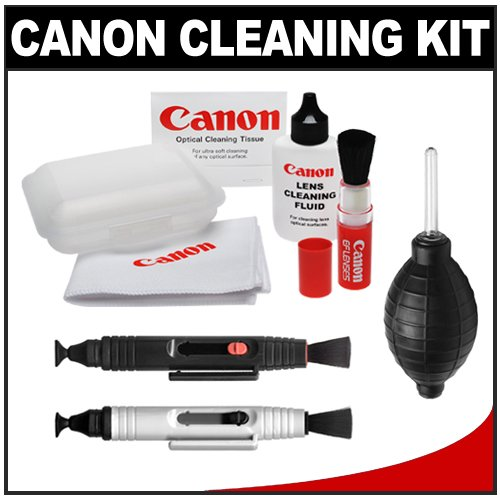 Canon Optical Lens and Digital SLR Camera Cleaning Kit with Brush, Microfiber Cloth, Fluid & Tissue + Blower + Lenspens for EOS 1Ds, 1Ds Mark II, III, IV, 40D, 50D, 60D, 5D, 7D, Rebel XT, XTi, XS, XSi, T1i & T2i