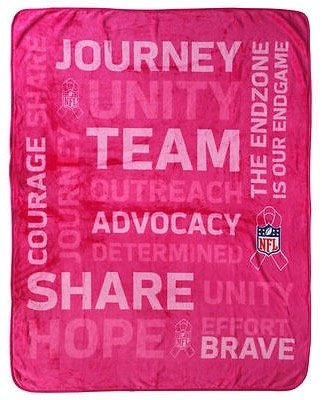 Oversized Pink NFL Silk Touch Throw Blanket Breast Cancer Awareness